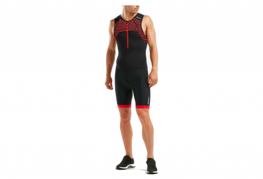 2XU Perform FullZip Sleeved TriSuit Black / Flame Scarlet
