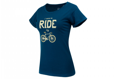 T-Shirt Marcel Pignon Femme I Want To Ride Bleu