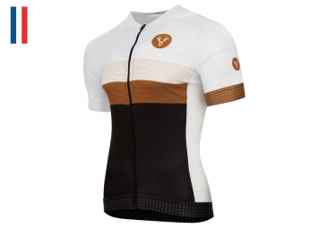 LeBram Limited Edition #1 Laurent Jalabert - Le Panda x 138 Short Sleeve Jersey White Brown Black Adjusted Fit (2 Pockets + Zip)
