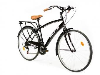 Moma Bikes Bicicleta Trekking / Paseo SHIMANO HYBRID 28'', Alu, 18V, Negro