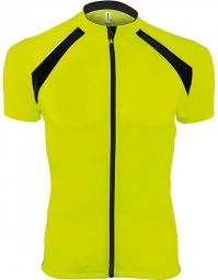 Proact maillot cycliste zippe homme pa447 jaune fluo manches courtes xs