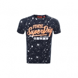 T shirt superdry ticket type splatter bass blue s