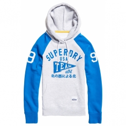 Sweat à Capuche Enfant Superdry Team Sport Ice Grey / Surf Blue