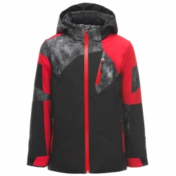 Veste de ski spyder boy s leader black red cdi 10 ans