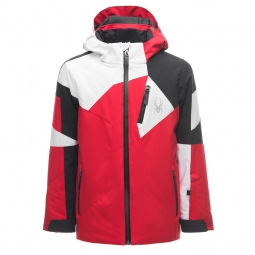 Veste de ski spyder boy s leader red black white 10 ans