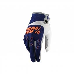 Gants vtt 100 airmatic junior bleu marine orange l
