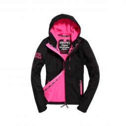 Veste superdry hooded windtrekker black code pink xs