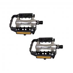 Paire de pedales vtt aluminium monobloc filetage 9 16 livree avec catadioptres