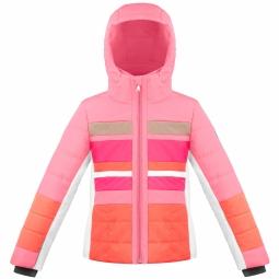 Veste de ski poivre blanc jrgl ski jacket pink multi 8 ans