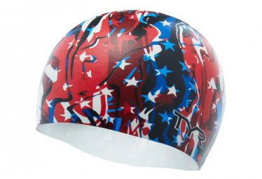 TYR FIRECRACKER SWIM CAP red blue