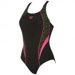 Arena microcarbonite 1 piece black fresia rose leaf maillot natation femme 1 piece 36