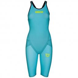 Arena carbon flex vx open back turquoise black combinaison natation femme dos ouvert 3