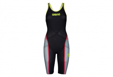 Image of Arena carbon ultra dark grey fluo yellow combinaison femme natation dos ouvert 30