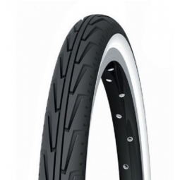 Pneu vtt junior michelin city j 24 pouces 1x3 8 couleur noir blanc usage urbain tringle rigide 37 mm
