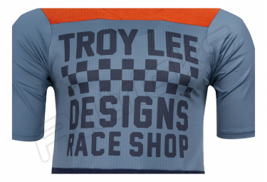 Maillot Manches Courtes TROY LEE DESIGNS Skyline Air Checkers Bleu/Orange