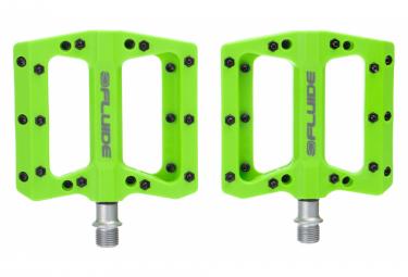 Paire de Pédales Plates Fluide Pression Vert
