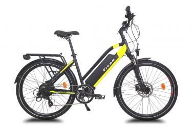 Vélo VTC électrique VIENA jaune, 28'', Batterie Lithium (Cellules Samsung) 840 Wh (48 V et 17,5 Ah),Moteur UBKSystems 350W ,Taille 49, Frein hydraulique Shimano. Livré 85% monté.