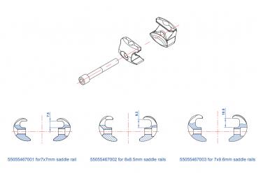 Chariot de Selle Ritchey 1-Bolt pour Rails ronds 7x7 mm et modèle 1-Bolt Carbon