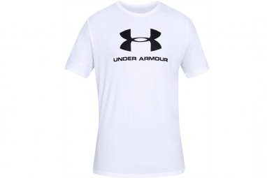 Under armour sportstyle logo tee 1329590 100 homme t shirt blanc l