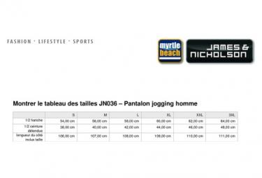 James et Nicholson Pantalon jogging homme - JN036 - blanc