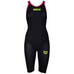 Image of Arena carbon flex vx closed back dark grey fluo red combinaison natation femme dos ferme 40