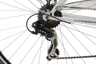 VTC Femme KS Cucling Vegas 28'' Shimano Tourney 7V Blanc Cintre Multi-position