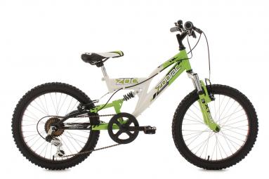 VTT Tout-Suspendu Enfant KS Cycling Zodiac 20'' Shimano Tourney 6V Vert Blanc