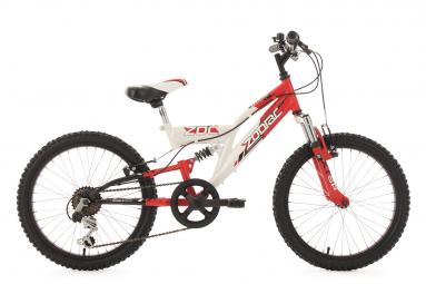 VTT Tout-Suspendu Enfant KS Cycling Zodiac 20'' Shimano Tourney 6V Rouge Blanc