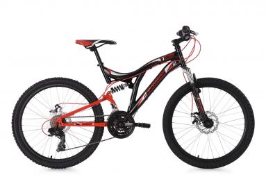 VTT Tout-Suspendu Enfant KS Cycling Nice 24'' Shimano Tourney 7V Noir Rouge