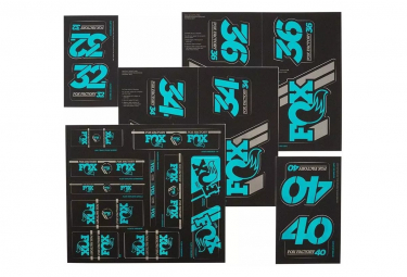 Kit Stickers Fox Racing Shox Heritage Fourche et Amortisseur Turquoise