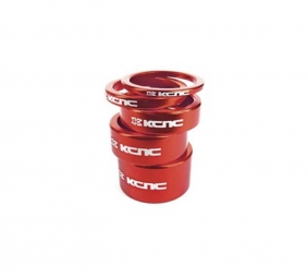 KCNC Kit Entretoises Direction Alu 1''1/8 Rouge 3/5/10/14/20 mm