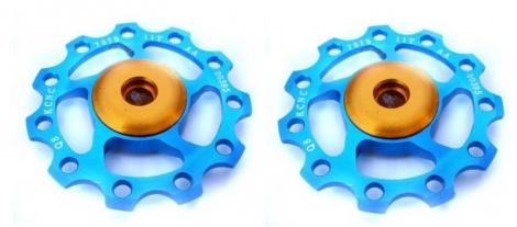 kcnc paire de galets de derailleur bleu roulements ceramique 9 10v