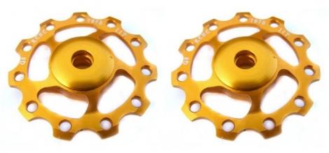 kcnc paire de galets de derailleur or roulements ceramique 9 10v