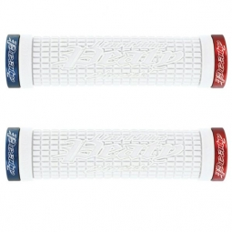 LIZARD SKINS Pair Grips Lock On Peaty White Blue Red