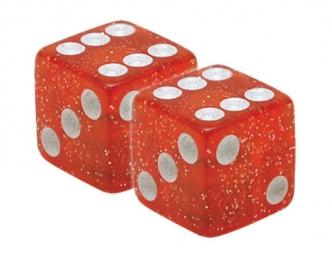 TRIKTOPZ Bouchons de Valves X 2 Dés Rouge Glitter