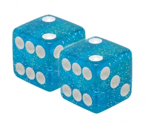 TRIKTOPZ Bouchons de Valves X 2 Dés Bleu Glitter