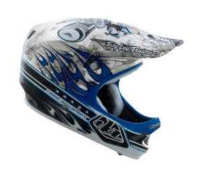 TROY LEE DESIGNS D2 Full Face Helmet 2011 PISTONBONE Chrome Blue M / L