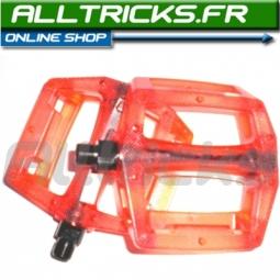 ATOMLAB Paire de Pédales plastiques rouges translucides