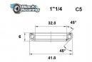 Black bearing - C5 - Roulement de jeu de direction  32.8 x 41.8 x 6 mm 45/45°