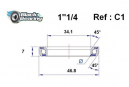 Black bearing - C1/C2 Inox - Roulement de jeu de direction inox 34.1 x 46.8 x 7 mm 45/45°