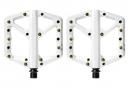 Paire de Pédales Plates Crankbrothers STAMP 1 Blanc (Pins Or)