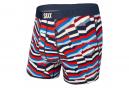 Boxer Saxx Ultra Post It Stripe Bleu Rouge