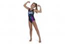 Speedo Girl's DIGITAL PLACEMENT Splashback Swimsuit Black Blue