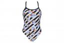 Women's Arena Crazy Diamonds Challenge Back One-Piece Swimsuit White Black