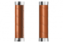 Puños Brooks England Slender Leather Grips 130 - brown silver
