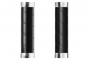 Puños Brooks England Slender Leather Grips 130 - black silver