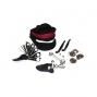 Kit réparation chambre air et outils vélo dans sacoche de selle