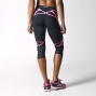 adidas Collant 3/4 Sequentials Sprint Web Femme Noir Rose