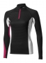 MIZUNO Maillot manches longues VIRTUAL BODY G1 col 1/2 zip Noir Rose Femme