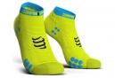 Chaussettes Compressport Pro Racing V3 Run Basse Jaune Fluo Bleu